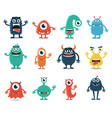 set monsters isolated on white background vector image