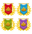 set of knight flag with crown and laurel vector image