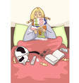 sick young woman in the bed vector image vector image