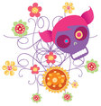 skull with flowers 2 vector image