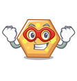 super hero hexagon character cartoon style vector image