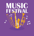 trumpets and saxophone musical instruments vector image