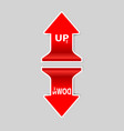 up and down signs arrow with shadow vector image vector image