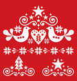 xmas scandinavian white folk art design set vector image vector image