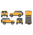 yellow suv car on white background vector image