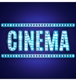Blue neon lamp cinema sign vector image