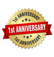 1st anniversary round isolated gold badge vector image