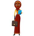 african arab iran worker lady with briefcase flat vector image