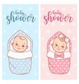 bashower design newborn bagirl and boy in vector image