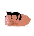Black cat and sausage vector image