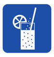 blue white sign - carbonated drink straw citrus vector image