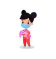 brunette girl doctor in medical mask holding pink vector image vector image