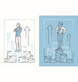 business people standing on coins - set of line vector image