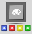 Car Icon sign on original five colored buttons vector image vector image