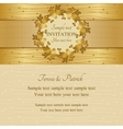 Christmas invitation gold and beige vector image