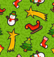 Christmas ornament patch icon pattern background vector image