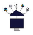 cloud computing monitor connection vector image vector image