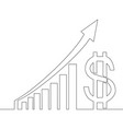 continuous one line drawing profit dollar graphs vector image