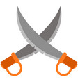 crossed pirate sword blade isolated on vector image vector image