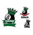 Crowned black billiards or pool ball vector image vector image