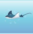 cute cartoon stingray swimming vector image vector image