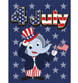 Elephant head man cartoon cheerful in 4 july vector image vector image