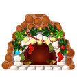 fireplace made white stones christmas vector image vector image