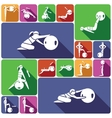 Fitness ball icons set flat vector image vector image