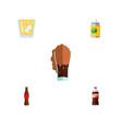 flat icon soda set of lemonade bottle beverage vector image vector image