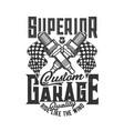 garage car and motorcycle custom motor races vector image vector image