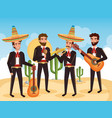 group mexican mariachis with instruments vector image vector image