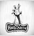 halloween background zombie hand fog title sigh vector image vector image