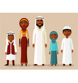 happy muslim arabic family in flat style vector image vector image