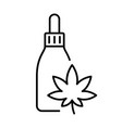 Hemp oil dropper bottle with cannabis leaf