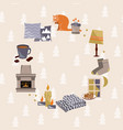 hygge cozy home frame danish happiness concept vector image vector image