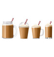 ice coffee icon set realistic style vector image