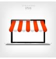 Internet shopping concept Realistic laptop E vector image vector image
