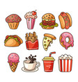 isolated on white background set junk fast food vector image