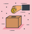 make a donation sign hand pushing coin in box vector image vector image