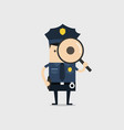 police holding a magnifying glass vector image vector image
