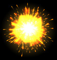 powerful explosion on black background vector image