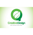 q green leaf letter design logo eco bio leaf vector image