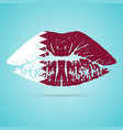 qatar flag lipstick on the lips isolated on a vector image vector image