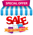 Sale and online shop concept with smartphone vector image