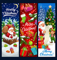 santa and elf on rowith christmas gift banners vector image vector image