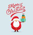 santa claus characters holding gift box vector image
