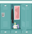 school locker with books and things vector image vector image