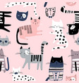 seamless pattern with cute colorful kittens vector image vector image