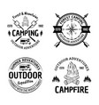 set camping and outdoors vintage black vector image vector image