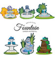 set of outdoors fountain for gardening spring and vector image vector image
